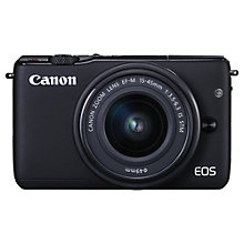 Buy Canon EOS M10 Compact System Camera with EF-M 15-45mm f/3.5-6.3 IS STM Wide Angle Zoom Lens, Black with FREE 32GB Memory Card Online at johnlewis.com