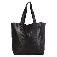 Buy Oasis Leather Shopper Bag, Black Online at johnlewis.com