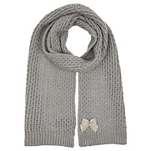 Buy Oasis Beaded Bow Detail Scarf, Mid Grey Online at johnlewis.com