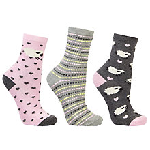 Buy John Lewis Sheep Ankle Socks, Pack of 3, Grey/Pink Online at johnlewis.com
