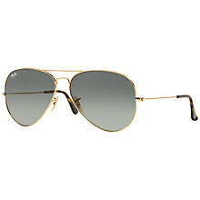 Buy Ray-Ban RB3025 Aviator Sunglasses, Gold/Gradient Grey Online at johnlewis.com