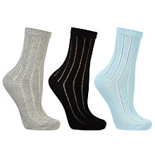 Buy John Lewis Crochet Stripe Ankle Socks, Pack of 3, Multi Online at johnlewis.com