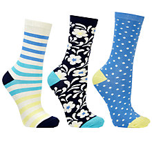 Buy John Lewis Floral and Stripe Ankle Socks, Pack of 3, Navy/Yellow Online at johnlewis.com