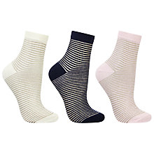 Buy John Lewis Sheer Stripe Ankle Socks, Pack of 3, Multi Online at johnlewis.com
