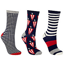 Buy John Lewis Umbrella Ankle Socks, Pack of 3, Navy/Red Online at johnlewis.com