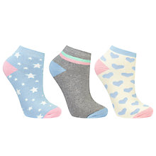 Buy John LewisTerry Heart and Star Detail Ankle Socks, Pack of 3, Multi Online at johnlewis.com