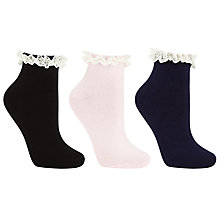 Buy John Lewis Plain Frill Top Ankle Socks, Pack of 3, Multi Online at johnlewis.com