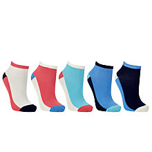 Buy John Lewis Colour Block Trainer Liner Socks, Pack of 5, Multi Online at johnlewis.com