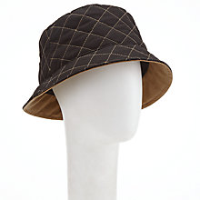 Buy John Lewis Quilted Waxed Bucket Rain Hat, Black Online at johnlewis.com
