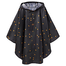 Buy Joules Waterproof Bees Print Poncho, Black/Gold Online at johnlewis.com