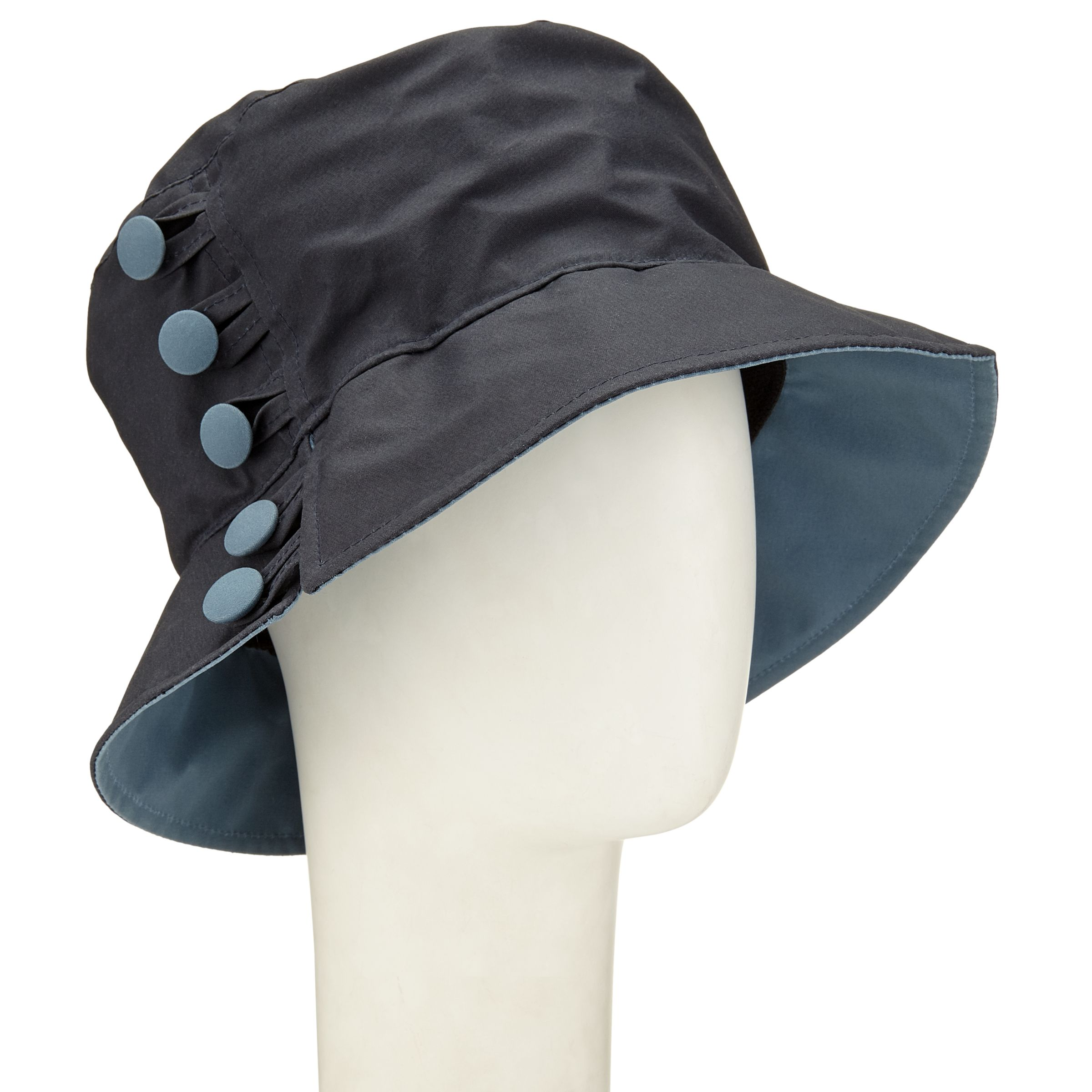 Olney Olney Waxed Cotton Button Rain Hat, Navy/Airforce Blue