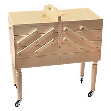 Buy Aumuller Korbwaren Wheeled Cantilever Wooden Sewing Cabinet, Light Wood Online at johnlewis.com