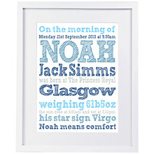 Buy Modo Creative Personalised Name Details Framed Print, 25 x 60cm Online at johnlewis.com