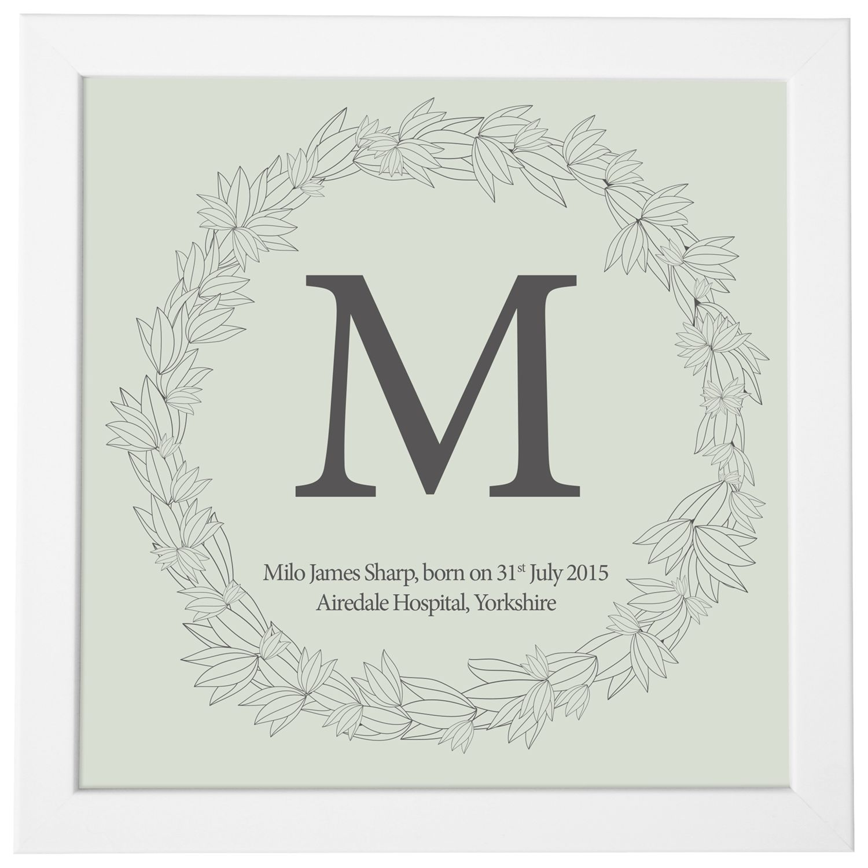 Modo Creative Modo Creative Personalised Name Leaf Wreath Framed Print, 18 x 18cm