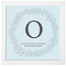 Buy Modo Creative Personalised Name Leaf Wreath Framed Print, 18 x 18cm Online at johnlewis.com