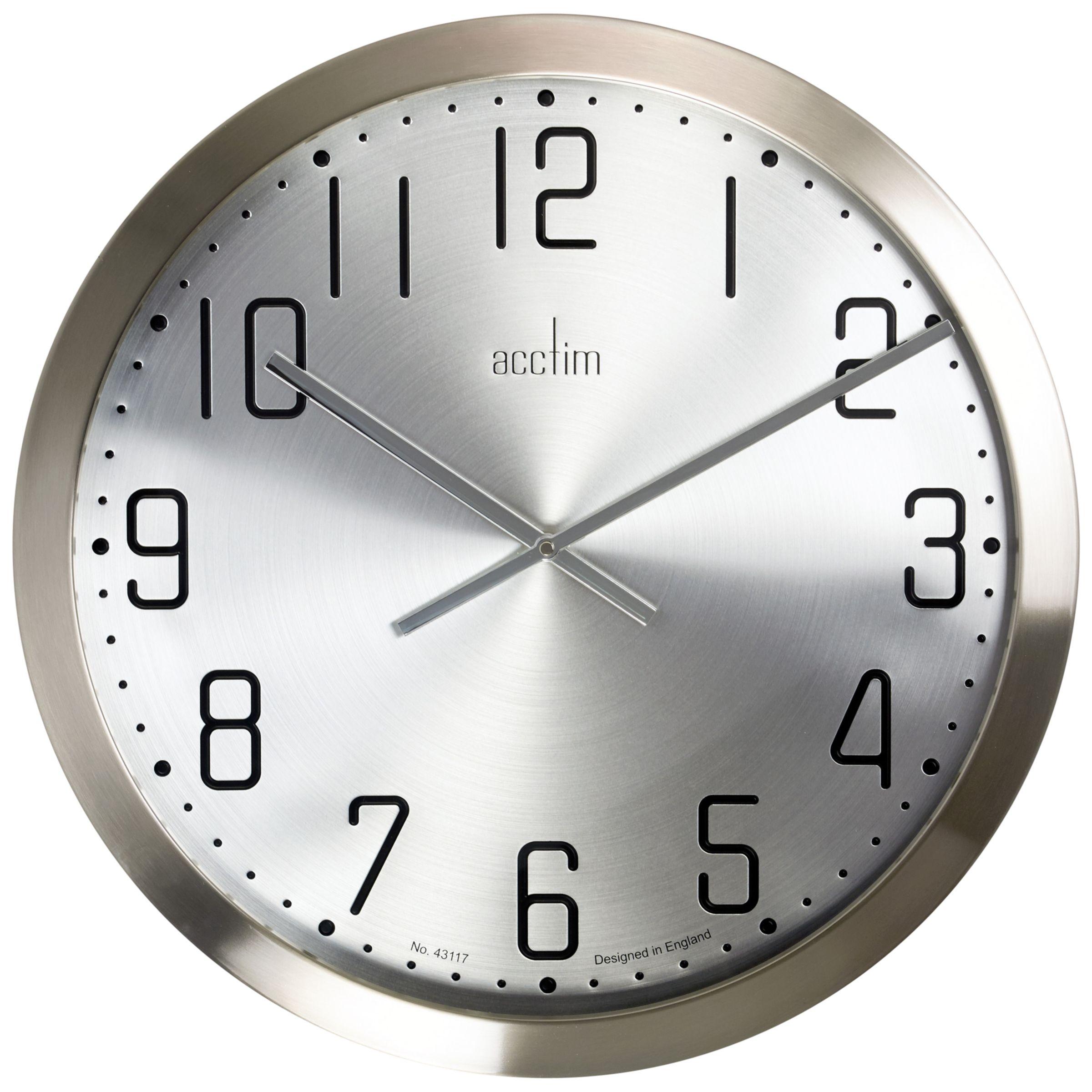 Acctim Acctim Alvik XL Wall Clock, Silver, 50cm