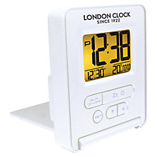 Buy LC Designs Folding LCD Alarm Clock, White Online at johnlewis.com