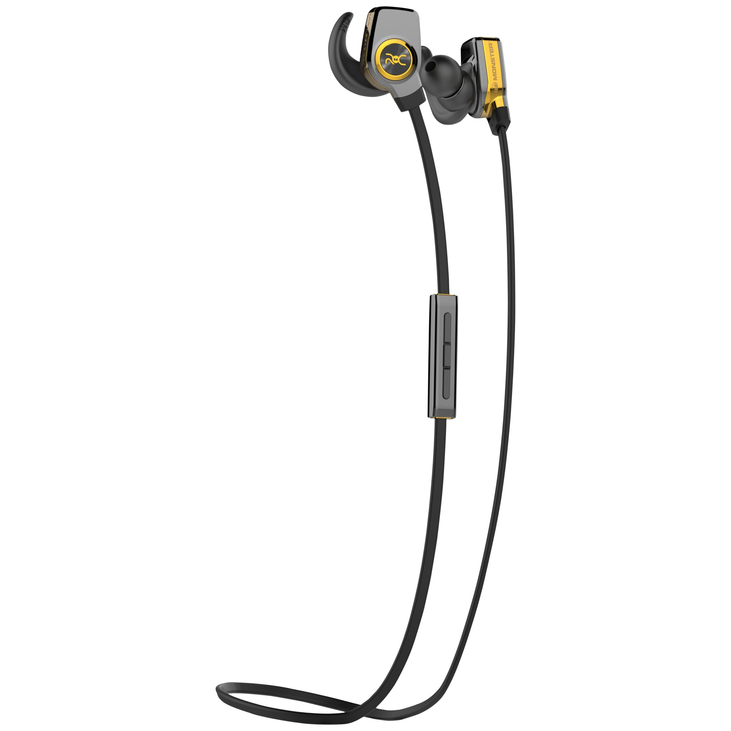 Monster Monster ROC Sport SuperSlim Wireless In-Ear Headphones With Built-In Mic, Total Noise Isolation & Carry Case, Black