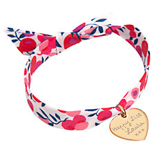 Buy Merci Maman 18ct Gold Plated Personalised Liberty Heart Bracelet, Red/Gold Online at johnlewis.com