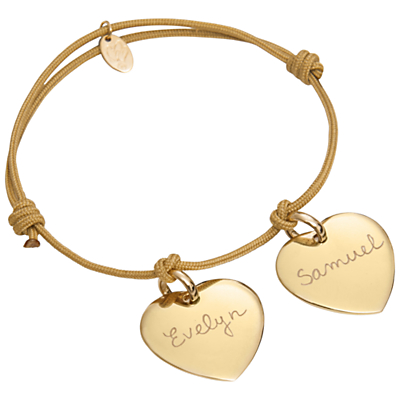 Merci Maman 18ct Gold Plated Personalised Two Heart Bracelet