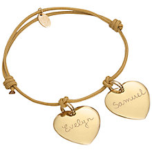 Buy Merci Maman 18ct Gold Plated Personalised Two Heart Bracelet Online at johnlewis.com