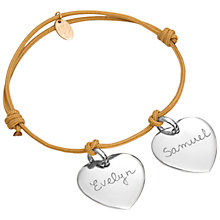 Buy Merci Maman Personalised Sterling Silver Two Hearts Bracelet Online at johnlewis.com