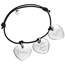 Buy Merci Maman Sterling Silver Personalised Three Hearts Bracelet Online at johnlewis.com