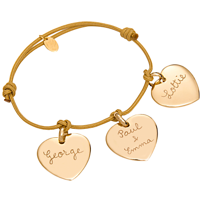 Merci Maman 18ct Gold Plated Personalised Three Hearts Bracelet