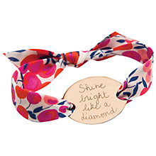 Buy Merci Maman 18ct Gold Plated Personalised Liberty Oval Bracelet, Red/Gold Online at johnlewis.com