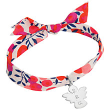 Buy Merci Maman Sterling Silver Personalised Angel Liberty Bracelet, Red Online at johnlewis.com