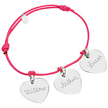 Buy Merci Maman Personalised Sterling Silver Three Hearts Bracelet Online at johnlewis.com