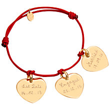 Buy Merci Maman 18ct Gold Plated Personalised Three Hearts Bracelet Online at johnlewis.com