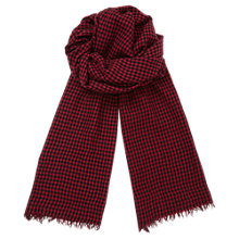 Buy Jigsaw Gingham Selvedge Scarf, Red Online at johnlewis.com