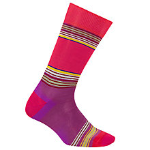 Buy Paul Smith Snake Stripe Cotton Socks, One Size, Pink Online at johnlewis.com