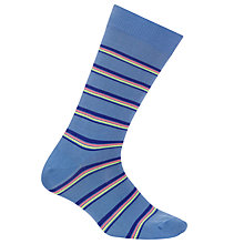 Buy Paul Smith Neon Stripe Cotton Socks, One Size, Blue Online at johnlewis.com
