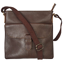 Buy Fat Face Mini Flap Leather Across Body Bag, Chocolate Online at johnlewis.com