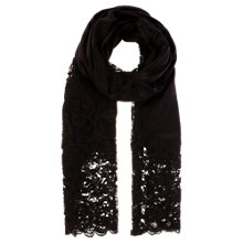 Buy Coast Lace Insert Scarf, Black Online at johnlewis.com