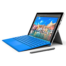 "Buy Microsoft Surface Pro 4 Tablet, Intel Core m3, 4GB RAM, 128GB, 12.3"" Touchscreen with Type Cover, Bright Blue Online at johnlewis.com"