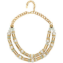 Buy Adele Marie Double Row Faux Pearl and Bead Necklace, Gold Online at johnlewis.com