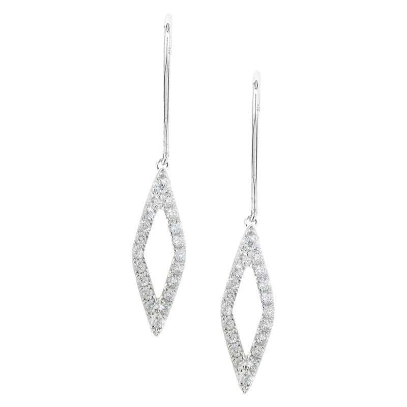 London Road London Road 9ct White Gold Portobello Geo Diamond Drop Earrings, White Gold