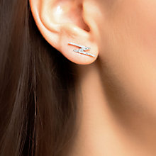 Buy London Road 9ct Whtie Gold Portobello Geo Lightning Zig Zag Diamond Drop Earrings, White Gold Online at johnlewis.com