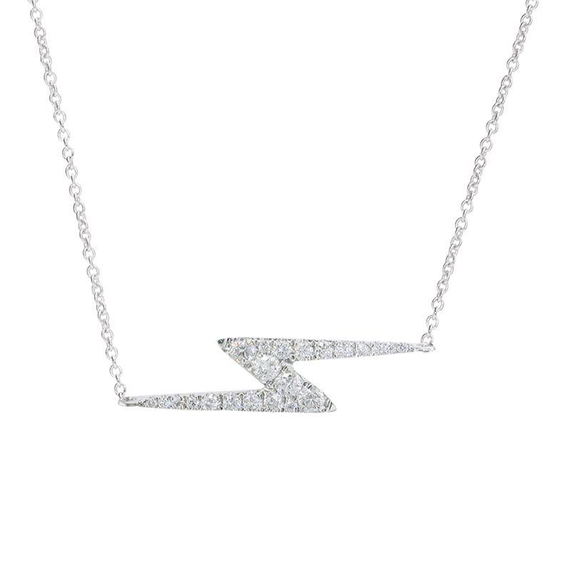London Road London Road 9ct White Gold Portobello Geo Lightning Zig Zag Diamond Necklace, White Gold