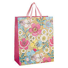 Buy John Lewis Pastel/Grain Floral Bag, Medium, Pink Online at johnlewis.com