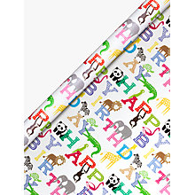 Buy John Lewis Happy Birthday Zoo Wrapping Paper Online at johnlewis.com