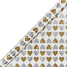 Buy John Lewis Gold Hearts Gift Wrap Online at johnlewis.com