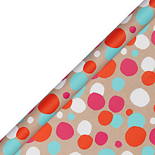 Buy John Lewis Kraft Large Spots Wrapping Paper White, Neon Online at johnlewis.com