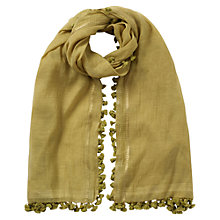 Buy East Silk Blend Pompom Scarf, Yellow Online at johnlewis.com
