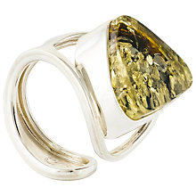 Buy Be-Jewelled Sterling Silver Baltic Ring, Green Amber Online at johnlewis.com