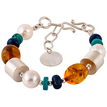 Buy Be-Jewelled Sterling Silver Amber Pearl Turquoise and Lapis Bracelet, Multi Online at johnlewis.com