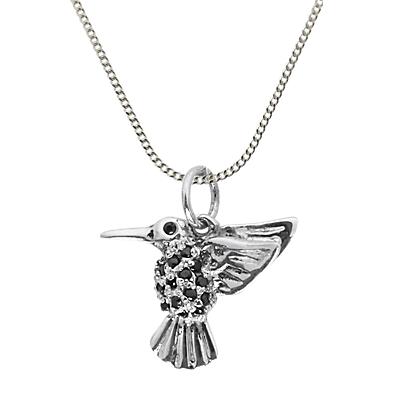 Nina B Cubic Zirconia Hummingbird Pendant Necklace, Silver